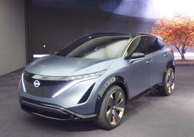 日産自動車が公開した、電気自動車のSUVの試作車「ニッサン アリア コンセプト」