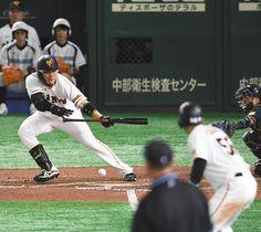 6回巨人2死三塁、丸がセーフティースクイズを決め、勝ち越し点を挙げる=東京ドームで