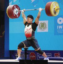男子89キロ級 ジャークで208キロに成功した山本俊樹=パタヤ(共同)