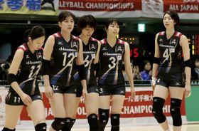 デンソーに敗れ、6連覇を逃した久光製薬の選手たち=東京体育館