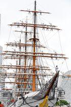 マストに登って帽子を振る「登檣礼」を披露する市民ボランティアら=帆船日本丸