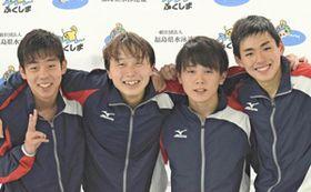 男子400メートルリレーで2連覇を達成した福島成蹊の(左から)五十嵐、吉田、安斎、伹野
