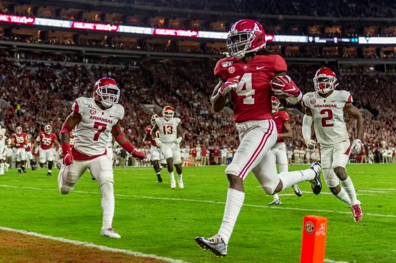 NFLのスカウトから高い評価を受けているアラバマ大のWRジェリー・ジューディー(4)(AP=共同)