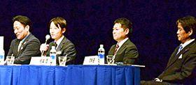 トークを繰り広げる(左から)原、酒井、相楽、両角の各監督