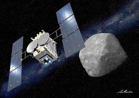 探査機はやぶさ2と小惑星りゅうぐうのイメージ(JAXA・池下章裕氏提供)