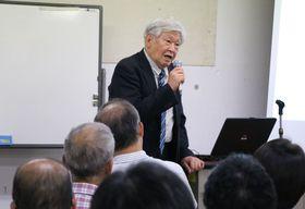 講演する今本名誉教授=長崎市魚の町、市民会館