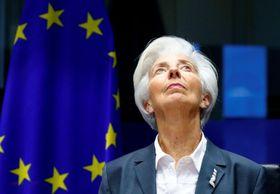 欧州中央銀行のラガルド総裁=2019年12月、ブリュッセル(ロイター=共同)