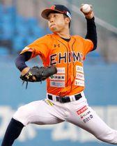 【愛媛MP―香川】7回2失点の好投で勝利を飾った愛媛MPの先発萩原=坊っちゃんスタジアム