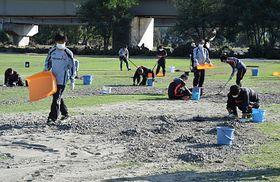 AC長野のスタッフらがグラウンドの石拾いなどの作業に追われた=16日、長野市千曲川リバーフロントスポーツガーデン
