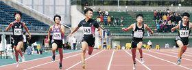 男子100メートル優勝の泊(中央)=石川県陸上競技場