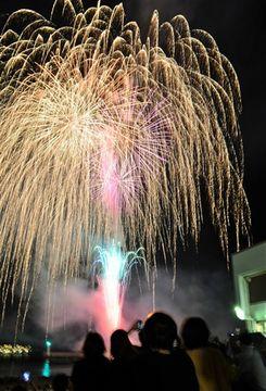 伊東海岸で開幕した「伊東温泉海の花火大会」=伊東市内