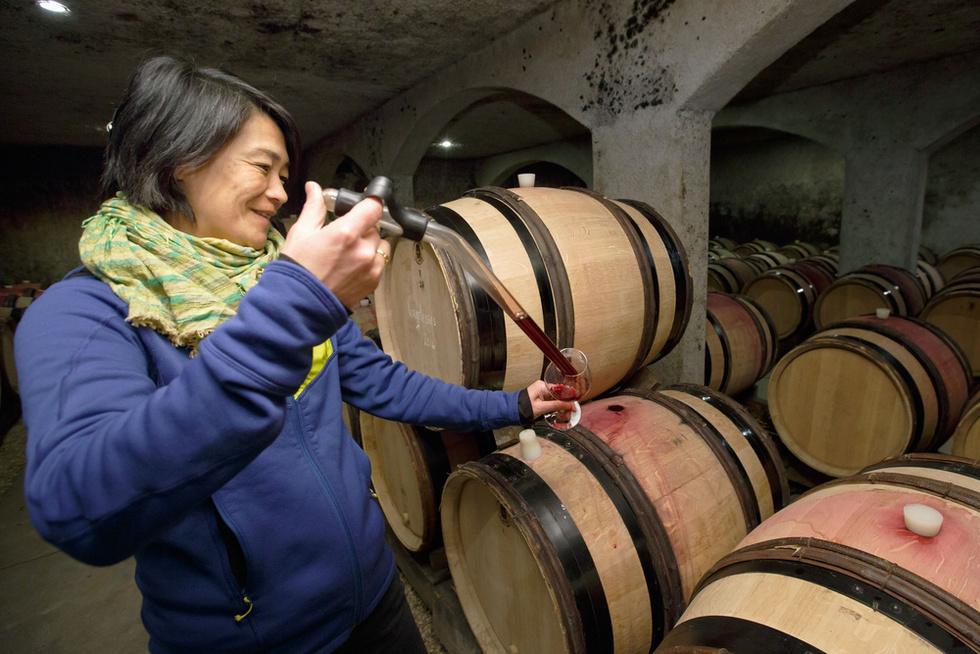 ドメーヌ・シモン・ビーズの地下カーブで、たるに仕込んだ2016年赤ワインを試飲するビーズ千砂。生産量は例年15万本ほどだが、16年は遅霜の被害で大きく減りそうだ=フランス中部サビニー・レ・ボーヌ村(撮影・沢田博之、共同)