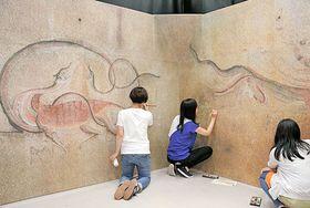 「高句麗江西大墓」の壁画の色合いを整える東京芸術大スタッフ=松江市袖師町、島根県立美術館