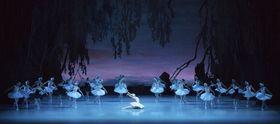 ロシア極東ウラジオストクのマリインスキー劇場支部のバレエ「白鳥の湖」の舞台(同劇場提供・共同)