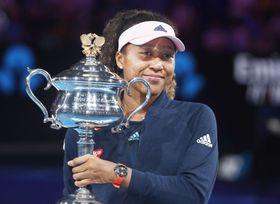 1月、全豪テニス女子シングルスで優勝した大坂なおみ=メルボルン(共同)
