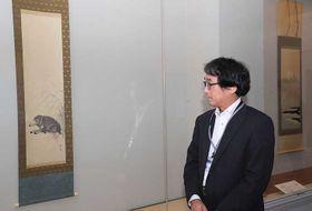 初公開となる「猪図」(左)と「富嶽」(奥)