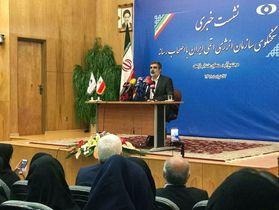 17日、イラン西部アラクで記者会見するイラン原子力庁の報道官(同庁提供・共同)