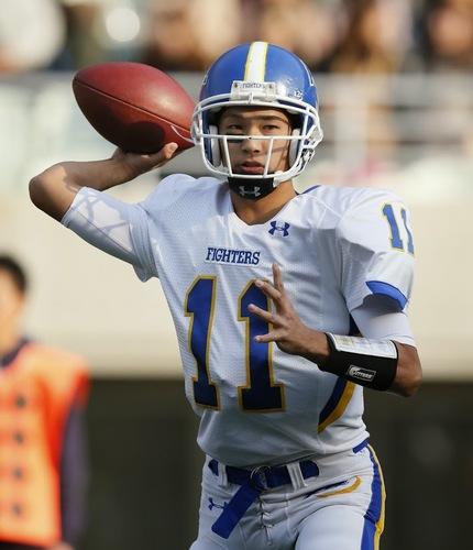 小学生からフラッグフットボールを経験している、関学大のエースQB斎藤=11月24日、長居陸上競技場