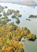 木々の葉が赤や黄に色づき、紅葉の見ごろを迎えた桧原湖周辺。上空からは神秘的な輝きを見せる水面と紅葉の鮮やかなコントラストを眺めることができる=27日午前、北塩原村