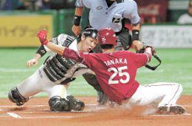1回東北楽天1死一、三塁、今江の中飛で本塁を狙った三走田中(右)がタッチアウトとなる。捕手甲斐