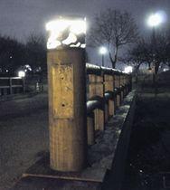 橋の名前が書かれた銘板がはがされた偕楽園公園の橋=16日午後、水戸市