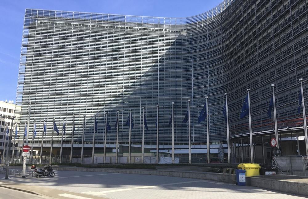 欧州連合(EU)本部の欧州委員会ビル=3月18日、ベルギー・ブリュッセル