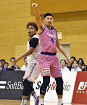 【福島―名古屋】第3Q、3点シュートを打つ福島の前田(右)=猪苗代町総合体育館