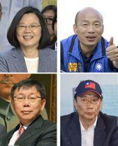左上から時計回りで、台湾の蔡英文総統、韓国瑜・高雄市長、郭台銘・鴻海精密工業前会長、柯文哲・台北市長