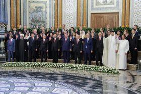 アジア相互協力信頼醸成会議(CICA)首脳会議に出席した加盟国首脳ら=15日、タジキスタン・ドゥシャンベ(タス=共同)