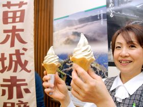 新発売の「苗木城赤壁ソフト」=中津川市栄町、にぎわい特産館