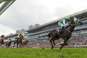 香港競馬のクイーンエリザベス2世カップ、優勝したパキスタンスター=29日、シャティン競馬場(ゲッティ=共同)
