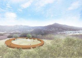 円形に配置したロッジのイメージ。屋根にデッキを設けて周辺の景観や星空を楽しめるようにする