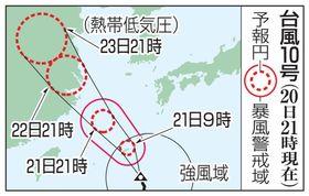 台風10号の予想進路(20日21時現在)