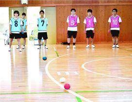 ボッチャを楽しむ両校の生徒=小松島市中田町のみなと高等学園
