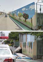 18日の地震で倒壊し、通学中の女児が死亡する事故があった大阪府高槻市立寿栄小のブロック塀。上は倒壊前(ⓒGoogle)