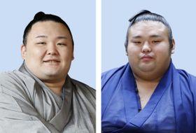朝乃山(左)と貴景勝