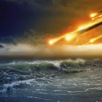 生命誕生前の地球に飛来する隕石のイメージ