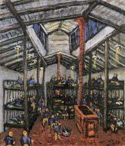 小林英夫さんらが暮らした収容所の地下宿舎『ゼムリャンカ』の絵。1982年制作(舞鶴引揚記念館所蔵)