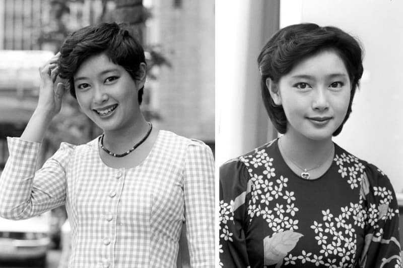 夏目雅子さん。デビュー当時、1977年5月東宝で撮影(左)、77年8月撮影(右)