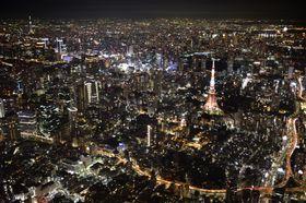 東京都心部の夜景=2014年9月