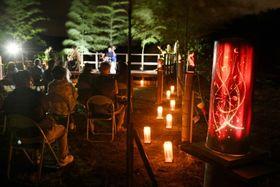 幻想的な光で会場を彩る竹アート=日置市日吉のひむかの郷