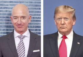 アマゾン・コムのベゾスCEO(左)、トランプ米大統領(いずれもゲッティ=共同)