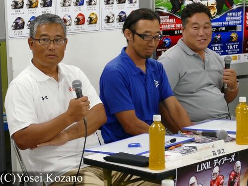 左からLIXIL森、IBM山田、アサヒビール岡の各ヘッドコーチ=撮影:Yosei Kozano