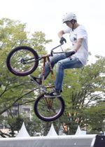 全日本BMXパーク、女子エリート決勝の大池水杜=岡山市