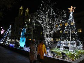 柔らかな光に包まれる沿道=大垣市、ソフトピアジャパン