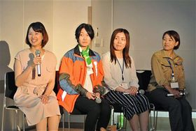 青森県在住の魅力について語り合う4人の女性たち=東京・丸の内