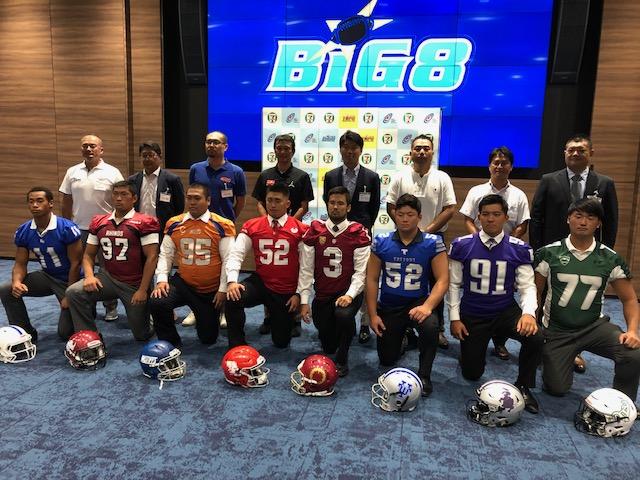 記者会見に臨んだ関東大学リーグ1部BIG8のチームの代表者