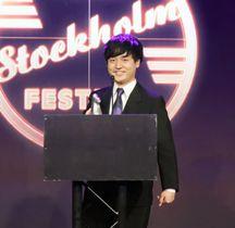ストックホルム国際映画祭で最優秀撮影賞を受賞した奥山大史さん=16日、ストックホルム(共同)