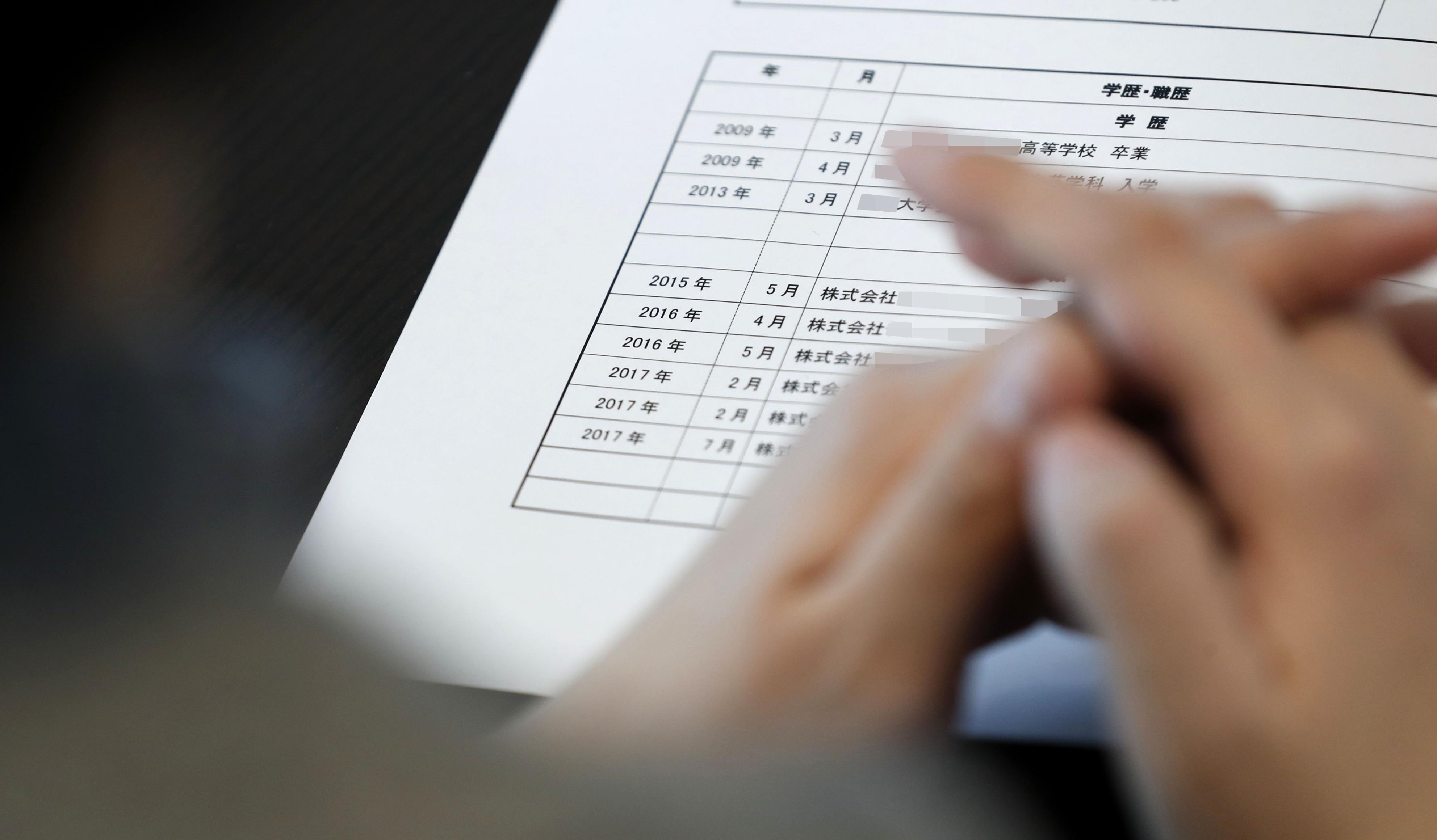 3年の間に入退社を繰り返した森永花音。履歴書の職歴欄には、転職の記録が記されていた(画像の一部を加工しています)