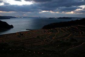 夕暮れ時に点灯し、冬の棚田を彩る約6000灯のLED電灯=松浦市、土谷棚田